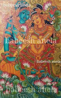 Kerala Mural Painting, Buddha Painting, Krishna Painting, Madhubani Painting, Krishna Art, Painting Canvas, Mural Art, Murals, Indian Arts And Crafts