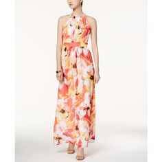 Nine West Printed Halter Maxi Dress ($80) ❤ liked on Polyvore featuring dresses, tango canary multi, halter neckline dress, white halter top dress, halter-neck maxi dresses, halter-neck dress and nine west dresses
