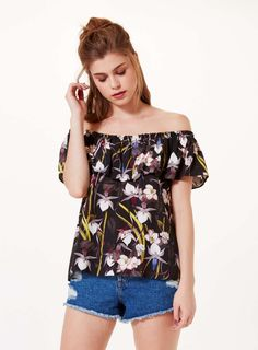 Tropical Frill Bardot - View All - New In - Miss Selfridge Europe