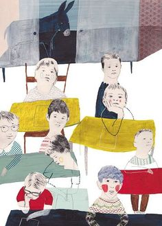 school classroom - illustration by Julie Van Wezemael