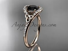 14kt rose gold diamond celtic trinity knot wedding ring, engagement ring with a Black Diamond center stone CT7317