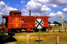 caboose at the Old Santa Fe Railroad Depot in Lindsay, Oklahoma.