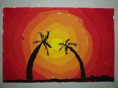 Tropische zonsondergang. mengen van rood en geel voor verschillende tinten oranje. Schilder in cirkels van geel steeds roder naar rood.