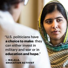 When Malala speaks, the world listens. Let's hope US politicians do, too. US leaders, choose #booksnotbullets!