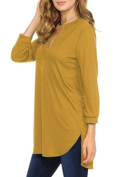 Solid Sleeve V Neck High Low Blouse Yellow Bridesmaid Jewelry Sets, High Low, Tunic Tops, V Neck, Yellow, Blouse, Sleeves, Women, Fashion