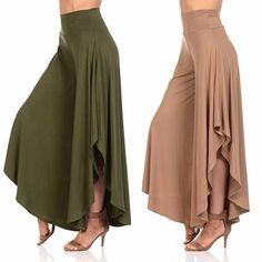 Buy New Women Layered Wide Leg Flowy Cropped Palazzo Capri Pants at Wish - Shopping Made Fun Fashion Pants, Look Fashion, Fashion Dresses, Fashion Design, Gothic Fashion, Pants For Women, Clothes For Women, Fashion Videos, Pants Pattern