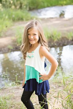 Girls Triple Layered Tank With Bow Back Navy - Ryleigh Rue Clothing by Modern Vintage Boutique