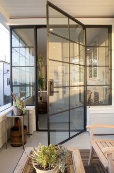 Steel Doors and Windows. The steel windows and doors add a punch of contemporary style to this home. Patterson Custom Homes Más Luxury Interior Design, Interior Exterior, Interior Architecture, Steel Doors And Windows, Art Studio At Home, Custom Homes, Modern Farmhouse, Luxury Homes, New Homes
