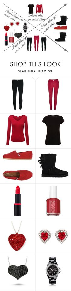 """Black and red"" by keke554 ❤ liked on Polyvore featuring J Brand, River Island, Vince, TOMS, UGG Australia, Essie, Christopher Kane, Amorium, Chanel and women's clothing"