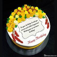 Beautiful Yellow Rose Birthday Cake With Name Wishes Happy Birthday Wishes Cake, It's Your Birthday, Birthday Cake, Cake Templates, Cake Name, Cake Online, Cake Images, Cream Cake, Cake Creations