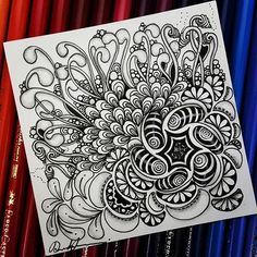 Beautiful tile with Reel pattern | Zentangle - 112916.  Artwork from Rebecca Kuan - #rebeccasecretbox  Welcome to visit my FB Page:  http://www.facebook.com/Rebecca.