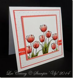 Shimmer White Card Stock Calypso Coral and Crisp Cantaloupe.  Very Vanilla Seam Binding colored with Calypso Coral Marker to it would match.   Flowers were colored with Blush Blossom, Calypso Coral and Cajun Craze.   Leaves…..Old Olive and Pear Pizzazz