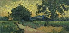 Art of the Day: Van Gogh, Landscape at Twilight, June 1890. Oil on canvas, 50 X 101 cm. Van Gogh Museum, Amsterdam.