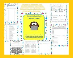 useful substitute teacher binder for days when you can't be at school! editable