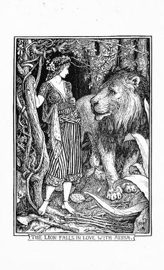 Illustrator H.J. Ford from the Red Book of Animals edited by Andrew Lang published 1899 : The Lion Falls in Love