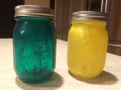 Green and Yellow painted Mason Jars decoration family gift ball pint jars ball mason jar 16 oz mason jar by JumperKellyPhotos on Etsy