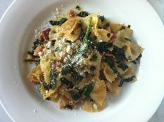 Pasta with Spring Greens, Bacon & Mustard Seeds
