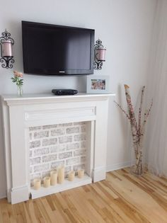 Home Decor Inspiration – Meshko Moments Happy Friday loves! Goodbye February, and Hello March. This Friday, I am sharing my home decor dreams as a Friday favorites. I've been doing a lot of day dreaming about our future home and d… Faux Fireplace Mantels, Faux Mantle, Fireplace Decorations, Candle Fireplace, Fireplace Frame, Diy Mantel, Build A Fireplace, Country Fireplace, Craftsman Fireplace