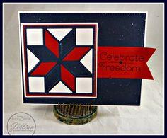 A Jillian Vance Design: Patriotic Star ~ Celebrate Freedom #quiltblock #eightpointstar #cardmaking #patriotic #freedom