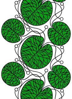 Bottna-puuvilla (valkoinen, vihreä, musta) |Kankaat, Puuvillakankaat | Marimekko