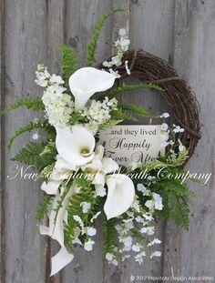 """Happily Ever After"" Elegant Floral Wreath"