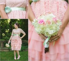 Pink bridesmaids with green accents - cute! Click to view more of these vintage wedding photos at the Historic Bleak House Knoxville TN!