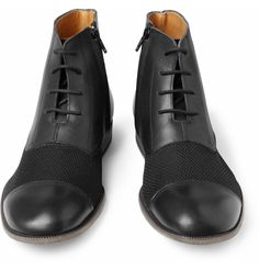 Maison Martin Margiela S/S 2014 Black Leather and Woven Boots Size 9 UK 43 SHOP: http://stores.ebay.co.uk/Flawless-Fashion-Lounge?_rdc=1