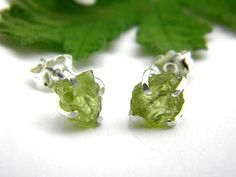 Raw peridot earrings studs sterling silver by nikiforosnelly