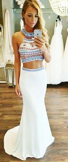 Beaded Prom Dress,White Prom Gown,2 Pieces Prom Gowns,Elegant Evening Dress,Two Piece Evening Gowns, on Luulla