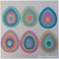 Atty's : Easter Egg Coaster Pattern https://www.facebook.com/AttysLoveForCrochet