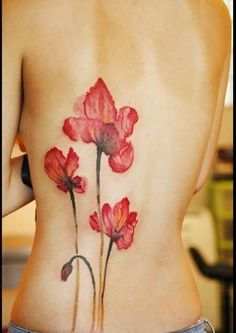 Water color poppy tattoo