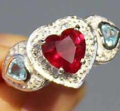 Natural-3-10-Cts-RUBY-Blue-amp-White-TOPAZ-925-Sterling-Silver-HEART-RING-S7-5 Personalized Necklace, White Topaz, Heart Ring, Blue And White, Amp, Necklaces, Sterling Silver, Rings, Jewelry