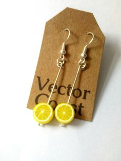 Sunny Summery Etsy Listings by Toni Berry on Etsy Wire Earrings, Unique Earrings, Statement Earrings, Drop Earrings, Lemon Slice, Yellow Earrings, Lemon Yellow, Polymer Clay, Handmade Gifts