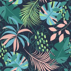 Summer Abstract Seamless Pattern With Colorful Tropical Leaves Plant Illustration, Pattern Illustration, Graphic Design Illustration, Cute Wallpapers, Wallpaper Backgrounds, Backgrounds Free, Tropical Wallpaper, Flower Phone Wallpaper, Plant Art