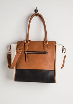 Triple the Charm Bag - Tan, Black, White, Solid, Work, Colorblocking, Better, Faux Leather, Social Placements, Fall, Spring