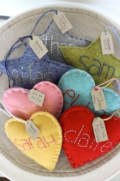 Cute! Could do circles, heart, star, oval. Child's name, joy, peace, hope, husband + wife's initials. Add buttons, rick rack,