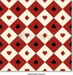 Card Suits Red Burgundy Cream Beige Black White Chess Board Diamond Background - Artwork - Art Print from FreeArt.com Red Gradient Background, Red And Black Background, Diamond Background, Polka Dot Background, Seamless Background, Background Vintage, Background Patterns, Free Art Prints, Card Patterns