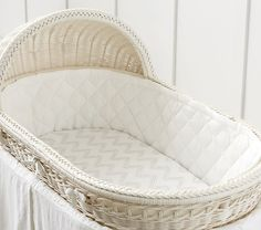 Create a cozy nursery with bassinet sheets and bedding from Pottery Barn Kids AU. Find newborn bedding for your bedside bassinet that matches your bedroom style. Pottery Barn Kids, Pottery Barn Bassinet, Moses Basket, Baby Bedding Sets, Baby Bassinet, Mattress Pad, Baby Furniture, Wood Furniture, Crib Sheets