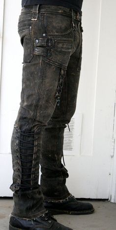 I can see just about any of my characters in something like this (Corded denim pant by BoneBlack on Etsy)