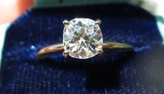 antique cushion cut diamond rings | Antique Cushion Cut Old Mine Diamond Ring, Engagement Solitaire from ...
