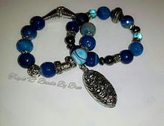 $40 plus shipping. 12mm Blue Agate with silver accents.