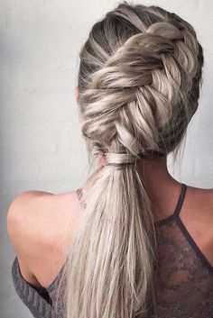 Grey Braid Pony | #braid #fishtailbraid #crownbraid #braidedupdo #boxerbraids #frenchbraids #hairoftheday #hairootd #hairenvy #hairheaven #hairfashion #hairfirst #haireverything #perfecthair #hairwants #hairneeds #hairessentials #everydayhair