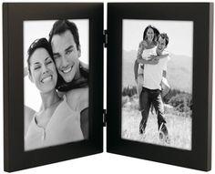 "Malden International Designs Linear Black Wood Double Vertical Frame 5 x 7"""