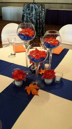 Blue and orange centerpiece