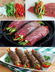 """chocolate-and-peanutbutter: """" Balsamic Glazed Steak Rolls Tender steak rolls filled with zesty vegetables and drizzled with a glaze that is simply out of this world delicious. Ingredients 8 thin slices sirloin or flank steak (length and width. Top Recipes, Beef Recipes, Dinner Recipes, Cooking Recipes, Healthy Recipes, Thin Steak Recipes, Skirt Steak Recipes, Recipies, Flank Steak Recipes"""