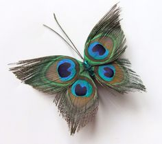Butterfly Peacock Wedding Hair Clip Accessory, Peacock Feather Fascinator Hair Piece, Peacock Feather Hair Accessories, Butterfly Hair Clip on WaneloPeacock Feather Butterfly Hair Clip Handmade using 4 small lightly trimmed natural peacock feathers a Peacock Butterfly, Peacock Hair, Butterfly Hair, Peacock Feathers, Peacock Jewelry, Peacock Dress, Butterfly Dragon, Butterfly Design, Monarch Butterfly