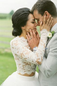 This lacy two-piece (with something blue!): | 32 Incredible Wedding Dress Details You Have To See