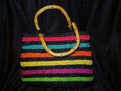 $9.72 Croft & Barrow women's rainbow wicker braid handbag with bamboo wood handle