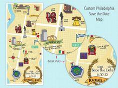 Save the Date Custom Map  Philadelphia by RaeHeartsDesign on Etsy, $2.75