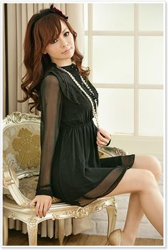 Japanese Fashion Sweet Ruffle Long Sleeved Dress  Item Code:  JK8214+Black    US$11.99
